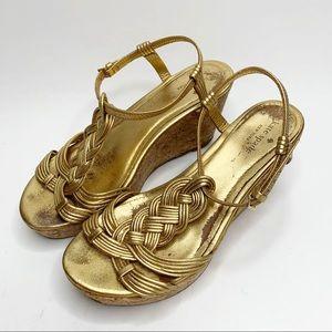 Kate Spade Becca Gold Cork Wedge Heels Size 8